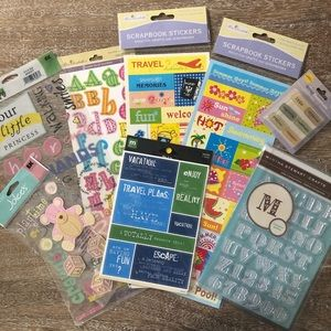 8 piece bundle of stickers and embellishments